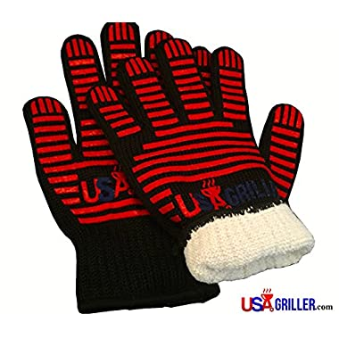 BBQ Gloves by USA Griller, Replace Oven Mitts with Fingers, Grip, and Fire Proof Protection Up To 932F