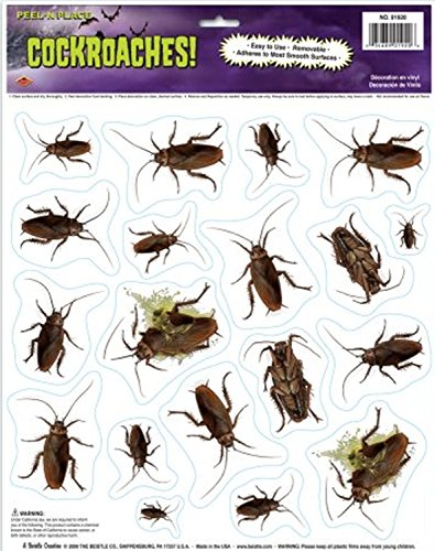 Creepy Bugs HORROR COCKROACHES GRABBER CLING Window Mirror Halloween Decorations