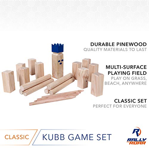 Kubb Yard Game Set for Adults, Families - Fun, Interactive Outdoor Family Games - Durable Pinewood Blocks with Travel Bag - Clean, Games for Outside, Lawn, Bars, Backyards