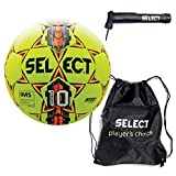 Select Numero 10 Soccer Ball Sack Pack Soccer Ball Hand Pump, Yellow, Size 5
