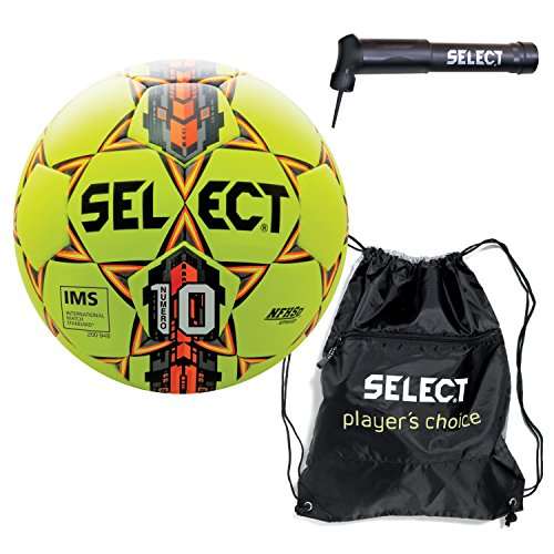 Select Numero 10 Soccer Ball Sack Pack Soccer Ball Hand Pump, Yellow, Size 5 by Select