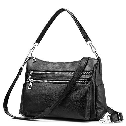 Women Handbags Purse Shoulder Bags Multi-Pocket Zipper Crossbody Bag Ladies Leather Lightweight Black