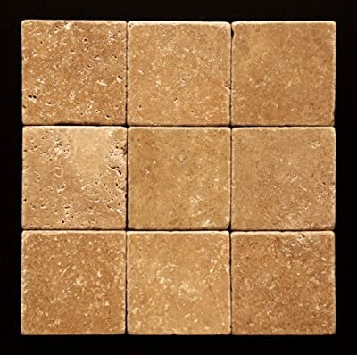 Noce 4 X 4 Travertine Tumbled Tile