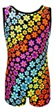 Tank Style Gymnastics Biketard (Rainbow Flowers, Youth 4-5)