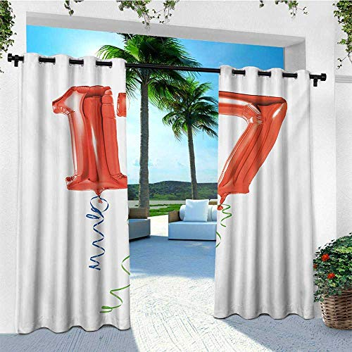 leinuoyi 17th Birthday, Outdoor Curtain Modern, Sweet Seventeen with The Party Balloons with Curly Ending Image Print, Outdoor Patio Curtains W72 x L108 Inch Red Green and Blue
