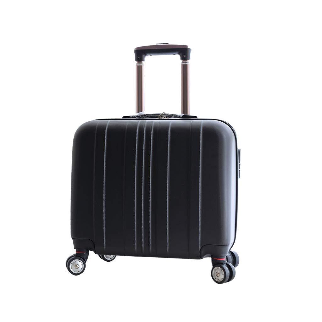 小さいスーツケースの軽量のABS堅い貝旅行は4つの車輪、23 * 48 * 36cmが付いている小屋手の荷物のスーツケースで続けます B07MP9M1XH black