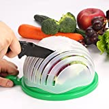 #3: Salad Cutter Bowl, 1 Minute Salad Maker, Family Size Salad Shooter, BPA Free and FDA Approved Fruit Vegetable Salad Chopper By Cinsey-Green