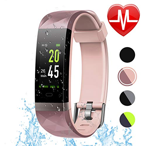 LETSCOM Fitness Tracker HR Color Screen, Heart Rate Monitor, IP68 Waterproof Smart Watch Step Counter Sleep Monitor, Pedometer Watch Men Women Kids