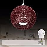 HQLCX Chandelier Originality personality modern simplicity bedroom terrace bar led aluminium wire fishing line pendant lamp,brown