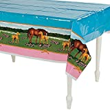 """Horse Mare and Foal Plastic Table Cover - 54"""" x 108"""""""