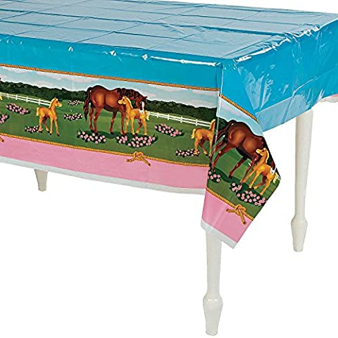 Horse Mare and Foal Plastic Table Cover - 54