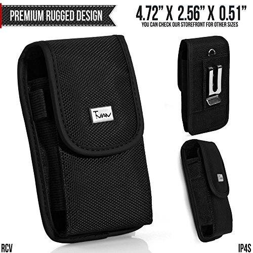Palm Treo 755p Belt Pouch, TMAN [Rugged Vertical] Metal Clip Holster/Hook Loop Closure Cover with Belt Loop Carrying Protective - Fits Cellphone without any Case