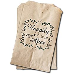 "Wedding Candy Bags - Wedding Favor Bags - Engagement Party, Bridal Shower Treat Bags - 6.25"" x 9.25"" - Fairtyale Wedding, Rustic Wedding Wreath (20 pack)"