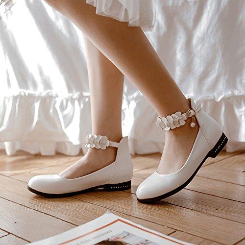 Low Top Aisun Weiß Strass Kunstleder Damen Ballerinas Basic Knöchelriemchen Perlen Blumen twwnZE4Rrq
