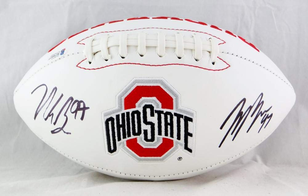 Nick Bosa//Joey Bosa Autographed Ohio State Buckeyes Logo Football Beckett Auth