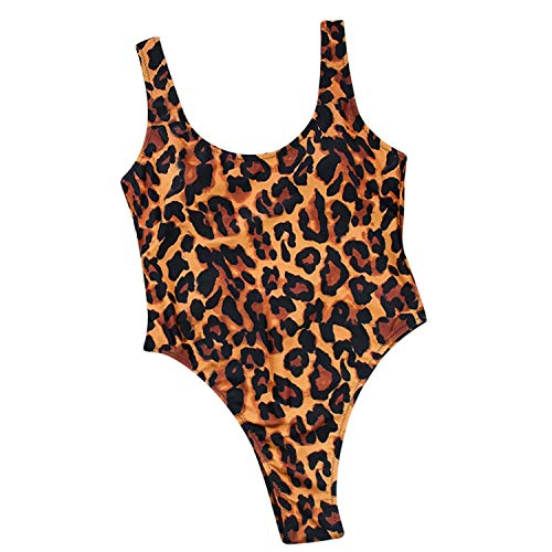 Zalin DIY Long Strap Wrap Around Women Swimwear One Piece Swimsuit Female Bather Leopard Print Bathing Suit,Beige,M ()