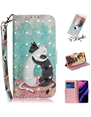 Strap 3D Wallet Case for iPhone 11,Aoucase Ultra Slim Fancy Painted Magnetic Soft Silicone Card Slot Stand PU Leather Case with Black Dual-use Stylus - Cat Couple