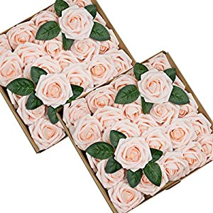 Foraineam 50pcs Ivory Artificial Roses Real Looking Foam Fake Rose Flowers w/Stem for DIY Wedding Bouquets Centerpieces Party Home Decorations 3