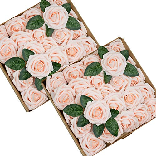 - Foraineam 50pcs Artificial Roses Flower Real Looking Foam Rose Fake Flowers with Stem & Leaves for DIY Wedding Bouquets Centerpieces Party Home Decorations (Blush)