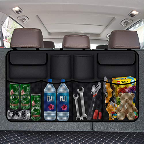 Car Organizer, 8 Pocket Auto Trunk Organizer for SUV, Backseat Trunk Organizer, Waterproof, Dust-proof, Durable Foldable Cargo Net Storage for More Trunk Space with Adjustable Straps, Black