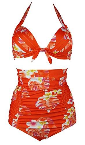Cocoship Bikini Floral Halter Swimsuit
