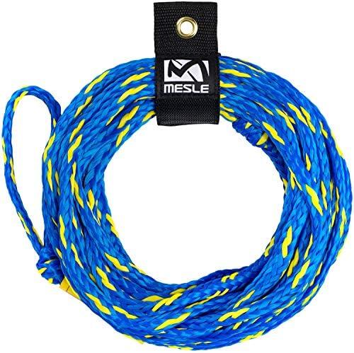 MESLE Schleppleine 2P 55\', schwimmendes Schlepp-Seil für 2-Personen, Länge 16,8 m, Polyethylen, Zug-Seil, schwimmfähig, jeweils Auge an Enden, Fun-Tube, Towable, Ringo, blau orange Lime