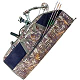 Elkton Outdoors Grassland Camo Rugged Portable Soft Bow and Arrow Case Carry Bag with 4 Storage Pockets-Fits Both Compound & Recurve Bows: Perfect for Hunting & Archery!