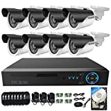 TECBOX AHD DVR 8 Channel Security Camera System with 8 HD 720P Outdoor CCTV Cameras Remote View Motion Detection 500GB Hard Drive Installed For Sale