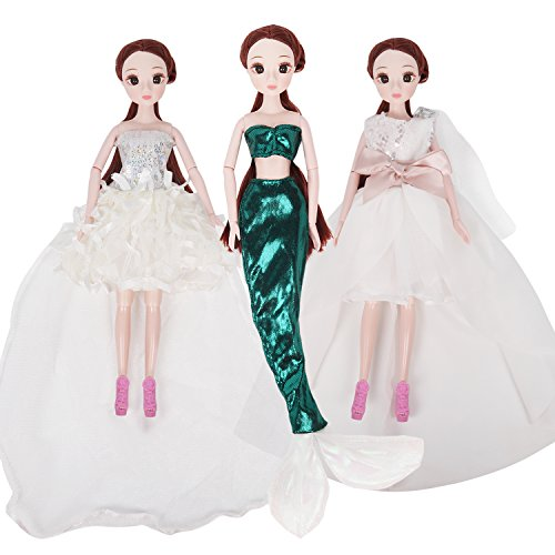 Christmas Dress Up Dolls (3 Pcs Classic Princess Dresses Clothes for Barbie Dolls)