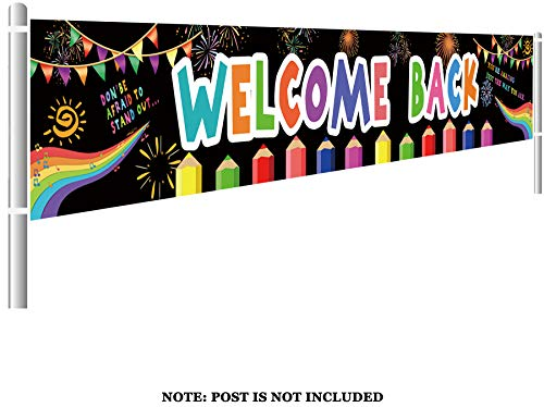 Large Welcome Back Banner, Classroom Pennants, First Day of School, Teacher Banner, Back to School Decor, Welcome Banner (9.8 x 1.5 feet) ()