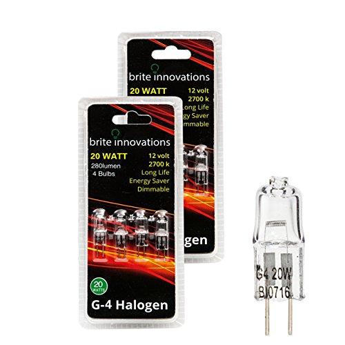 Brite Innovations G4 Halogen Bulb, 20 Watt (8 pack) Dimmable Soft White 2700K -12V-Bi Pin -, T3 JC Type, Clear Light (Frosted Soft Loop)