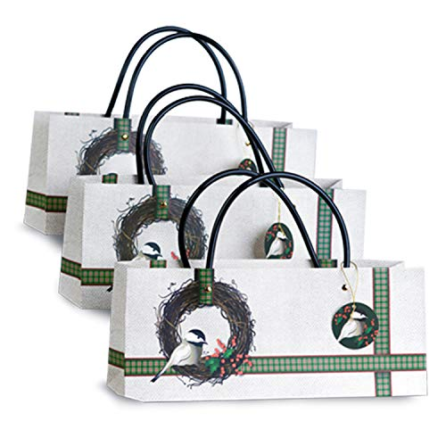 Wine Gift Bags –Chickadee with Holly Wreath in a Cute...