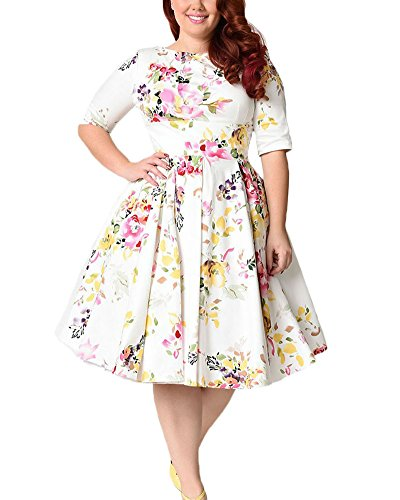 Size Vintage 1950s Floral Half Sleeve Cocktail Swing Dress White XL ()