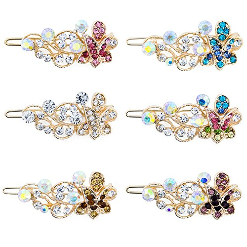 Yeshan Girls and Women Rhinestone and Crystal Small Hair Snap Clips Clamps,Barrettes Hairpins Set,Flower design,Pack of 6