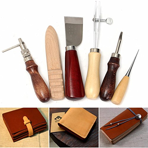 Fincos 6pcs Wood Handle Leather Craft Tool Kit Leather Hand Sewing Tool Punch Cutter DIY Set by Fincos Arts, Crafts & Sewing