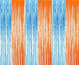 Blippi Birthday Party Supplies 3 Pack Foil Metallic Fringe Curtains for Party Decorations Blue Orange Curtain Backdrop for 3 4 5 Years Old Boys Girls