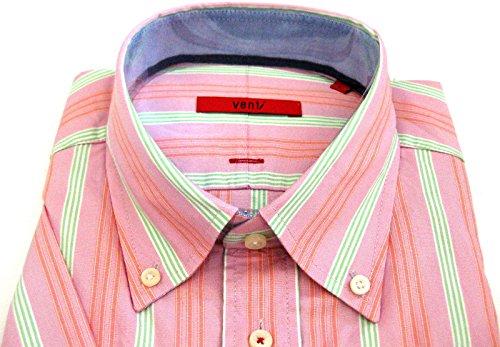 Venti Kurzarmhemd rosa grün fein gestreift tailliert L 41/42