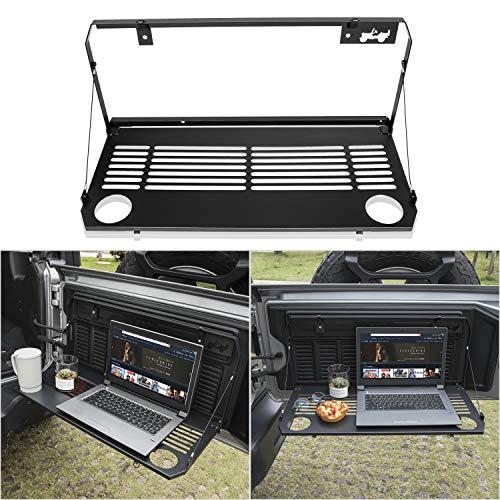 Danti Foldaway Tailgate Table for Jeep Wrangler 2018 2019 JL Trunk Flexible Rear Door Table Foldable Storage Cargo Shelf Rear Luggage Holder ()