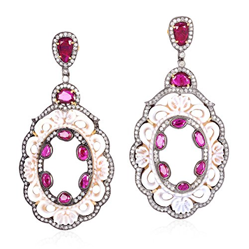 Ruby Diamond and Cameo Dangle Earrings 18K Yellow Gold Sterling Silver