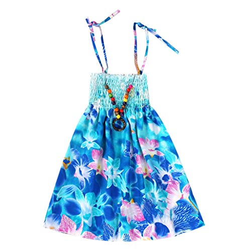WOCACHI Toddler Baby Girls Dresses, Infant Kids Girls Baby Clothes Vestidos Floral Bohemian Beach Straps Dress Back to School Easter Egg Costume Parade Bunny Lily Eggs Roll Basket Mother's Day -