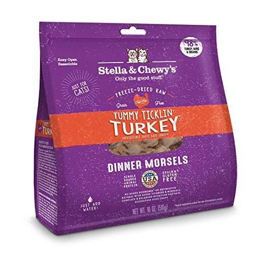 Stella & Chewy's Freeze-Dried Raw Tummy Ticklin' Turkey Dinner Morsels Grain-Free Cat Food, 18 oz bag ()