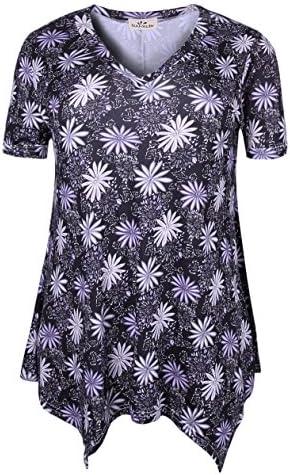 ZERDOCEAN Women Plus Size Printed Short Sleeves Tunic Tops Flowy T Shirt
