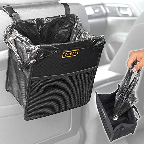 Cubit - Water-Resistant Refillable Dispensing Trash Can - Waste Bag & Organizer for Car Auto Office Home (1 Piece) (2001 Cup Ford Expedition Holder)