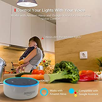 TECKIN Bombilla LED inteligente WiFi ajustable y lámpara multicolor Funciona con Google Home y IFTTT, E27 60W RGBW equivalente7.5W, 2 paquetes