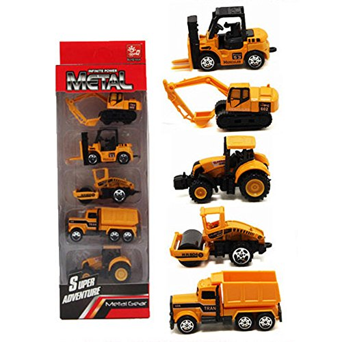 5pcs Assorted Construction Die Cast Metal Alloy Car Models Mini Play Vehicles Truck Cars Toy for Kids Toddlers Boys Yellow(Styles May (Action Diecast Car)