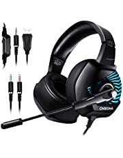 Casque Gaming Xbox One, ONIKUMA Casque Gaming avec Microphone Anti Bruit, 4D Son Surround 7.1 Stéréo , 3.5 mm Jack, Casque gamer Pour PS4/PC/Switch/PlayStation 4/MAC/PSP, Lumiere LED & Arceau Réglable