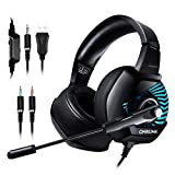 ONIKUMA Gaming Headset - 3.5mm USB Headset for PS4, Xbox One, Nintendo Switch, PC. Over-Ear Gaming Headphone with Stereo Surround Sound, Soft Memory Earmuff, Noise-Canceling Microphone & LED Light