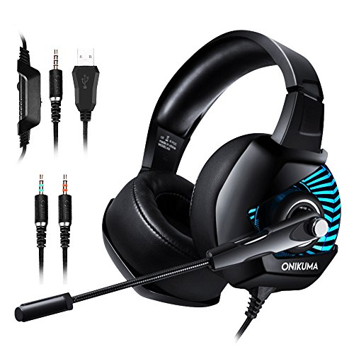 ONIKUMA II Gaming Headset for PS4, PC, Xbox One, Stereo Headphones for Laptop, Mac, Nintendo Switch with 7.1 Surround Sound, LED Lights, Noise Cancelling Mic, Breathing Ear Pads, Volume Control -Black