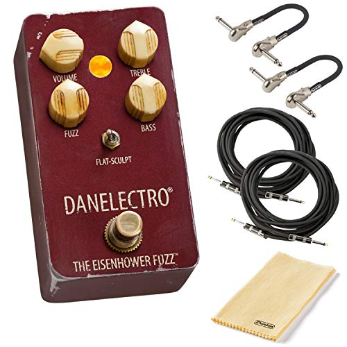 Danelectro The Eisenhower Fuzz Pedal Bundle with 2 MXR Patch Cables, 2 Instrument Cables, and Dunlop Cleaning Cloth (Best Fuzz Pedal Ever)