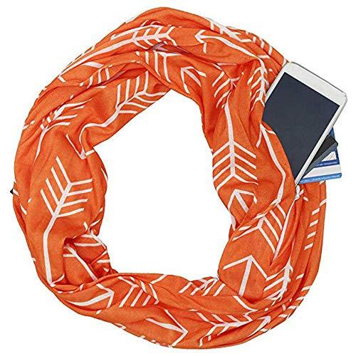 YJYDADA Socks,Unisex Lovers Winter Print Warm Loop Scarf Zippered Secret Pocket Shawl Ring (Orange) -